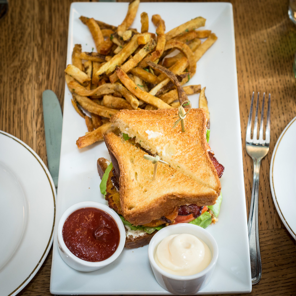 B.L.F.G.T (bacon, lettuce, fried green tomatoes on broche toast w/ buttermilk ricotta fries)