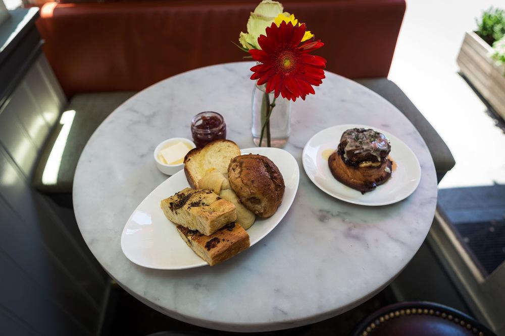 Homemade bread basket + sweet morning bun