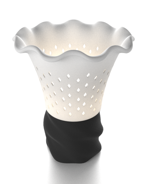 Daffodil Side Lamp Made With a 3D Printer Using Corn Based Material . Image Source http://www.avargadi.com.au/