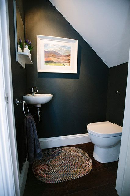 Toilet, or Powder Room under the stairs. Image Source Houzz.