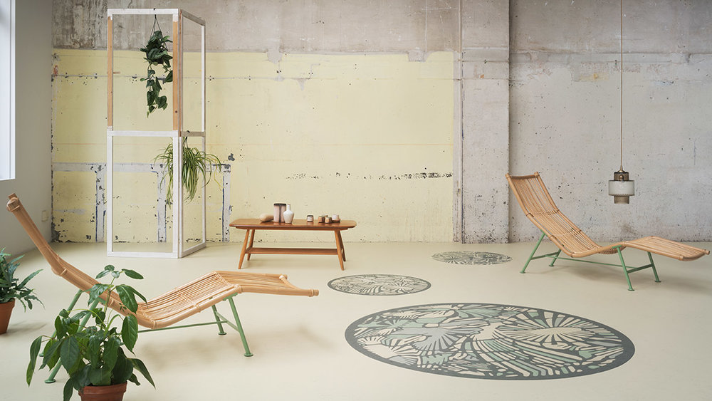 "Oh Yes, this is a 'Lino"" floor.  I think the image speaks for itself. Not a retro brown pattern in sight. Image Source - Forbo"