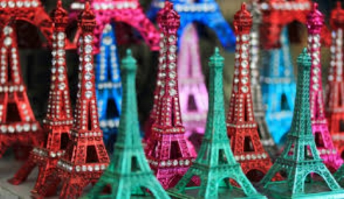 What better way to remember Paris than a lurid, jewelled, plastic ornament of the Eiffel Tower. Image Source - Cant remember.