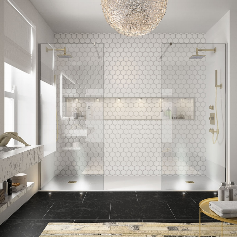 The hexagon mosaic wall tiles, amongst other items, has date stamped this bathroom. Image Source - Pinterest