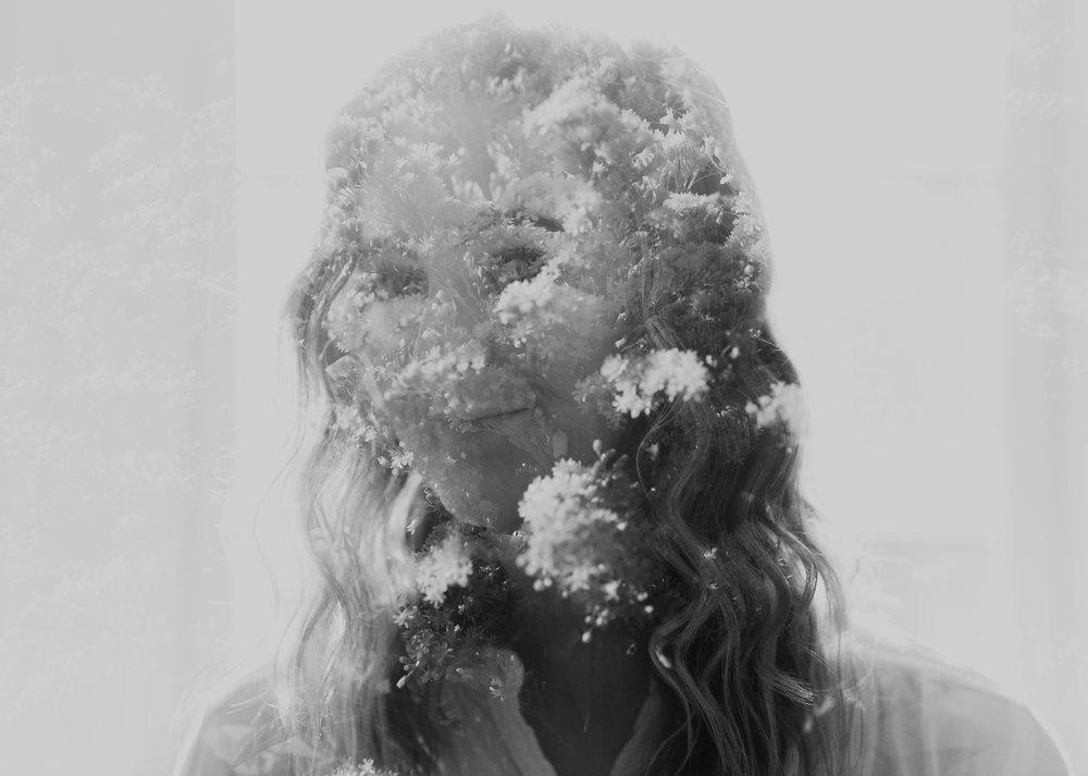 double exposure floral portrait