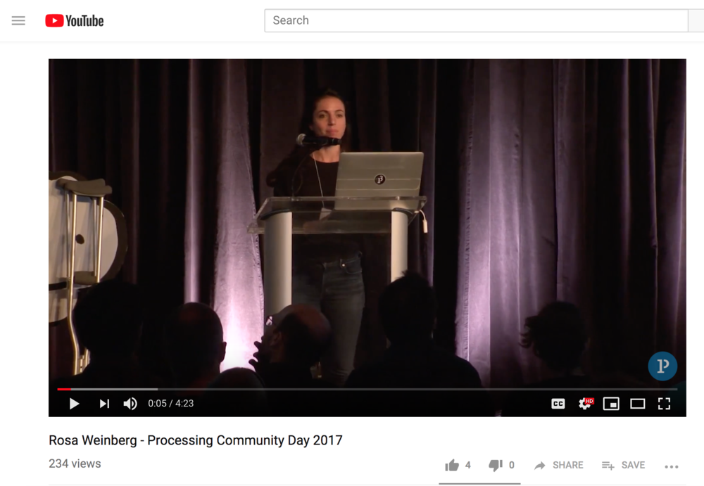 - Lightning talk at the inaugural Processing Community Day at the Media Lab about biases as they relate to creativity in design for people with disabilities.more…