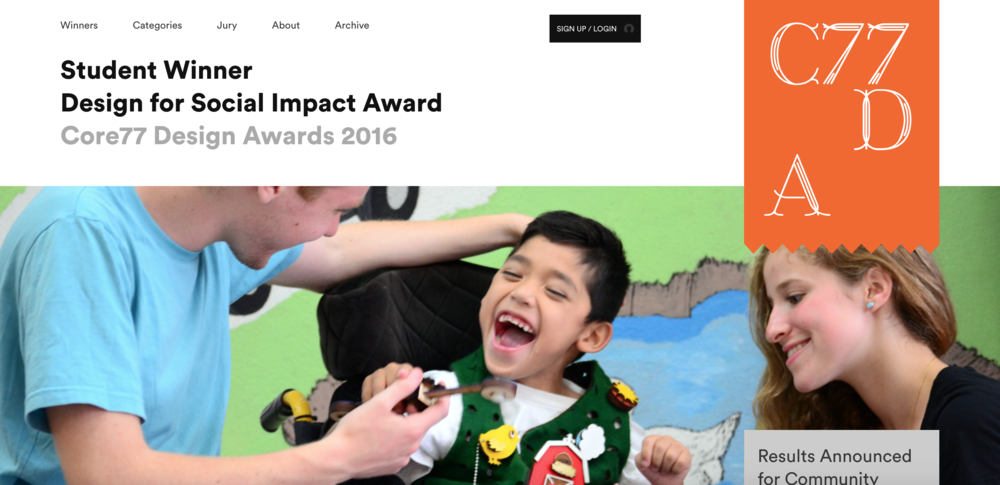 "- Students Devin and Noah win the student category for the Core77 Design for Social Impact Award for ""Skills Vest"" from the Easing Cerebral Palsy Studio.more…"