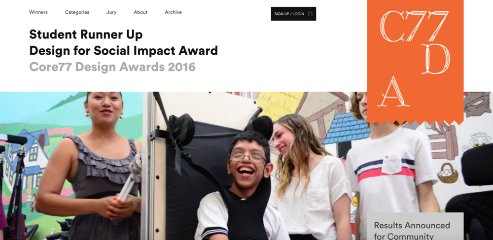"- Students Amit an Stefano named Student Runner Up for the Core77 Design for Social Impact Award for ""Uplift Wheelchair"" from the Easing Cerebral Palsy Studio.more…"