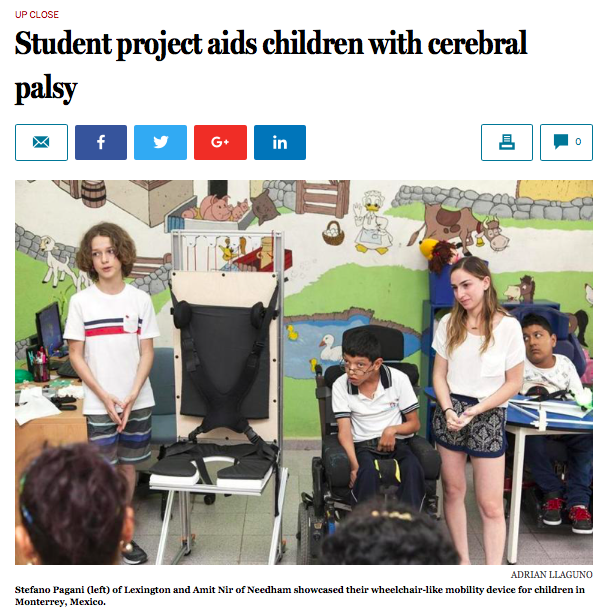 "- Stefano and Amit's ""Uplift Wheelchair"" from the Easing Cerebral Palsy Studio featured in the Boston Globe.more…"