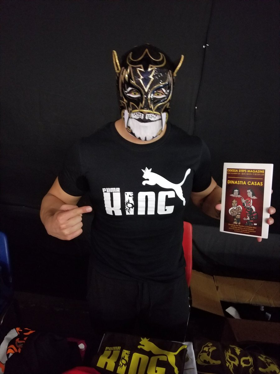 Puma King with his copy of issue six at Break the Barrier 2017.