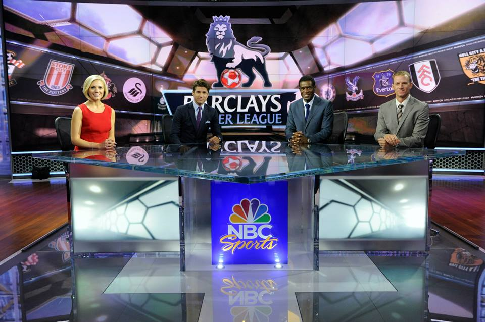 NBC's excellent EPL studio cast: host Rebecca Lowe, and analysts Kyle Martino, Robbie Earle and Robbie Mustoe.