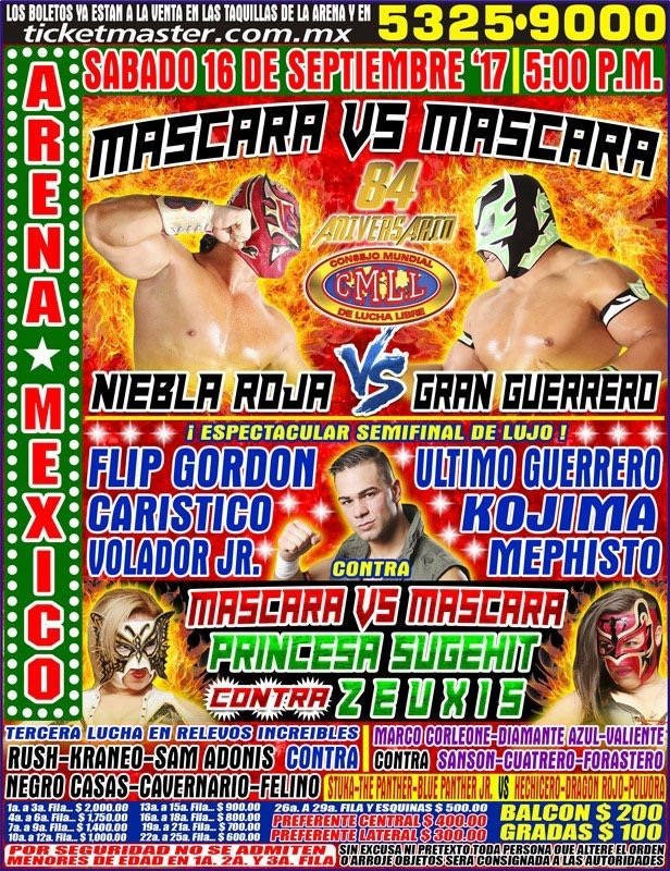 The scheduled card for the CMLL Anniversary show. But will the main event happen as planned?