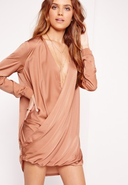 satin wrap over dress pink $48.00