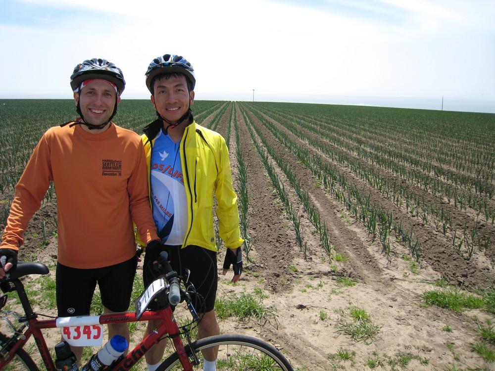 The author Joel Engardio with his husband Lionel Hsu on the AIDS/LifeCycle ride from San Francisco to Los Angeles.