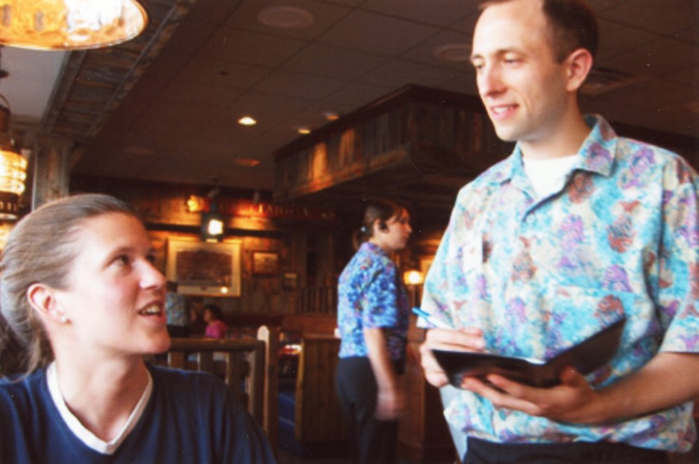 Joel Engardio working as a server at Red Lobster in San Bruno in 2003.