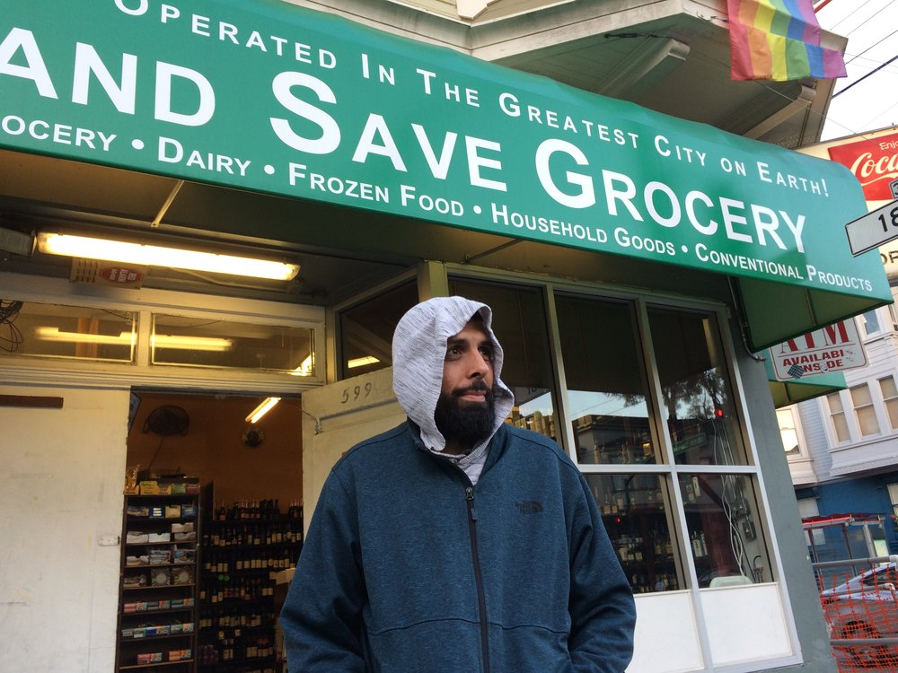 Mohammed Khalil outside his family's Mission district convenience store.