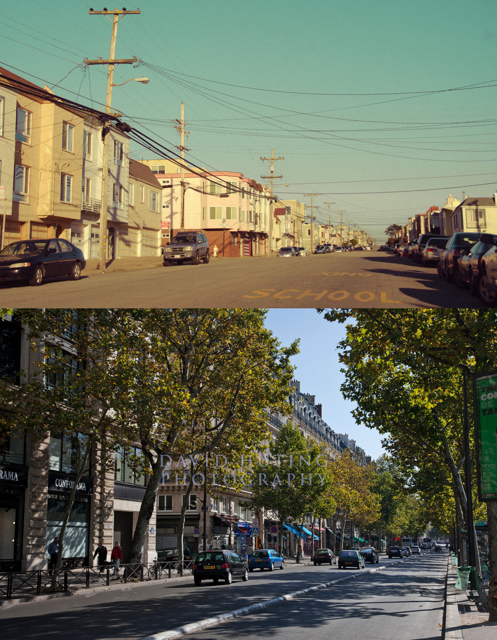 Before/After:  Two residential streets of similar size in San Francisco's Sunset District and Paris.