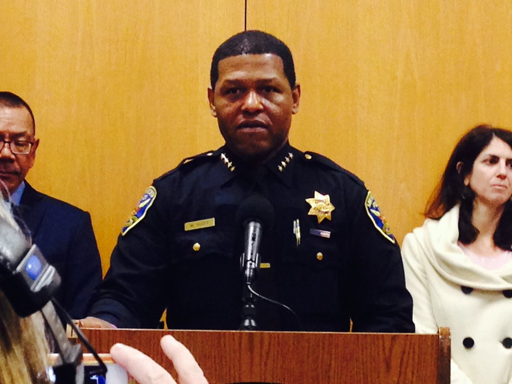 San Francisco Police Chief Bill Scott (center) with Supervisors Norman Yee (left) and Hillary Ronen (right) announce a new plan to combat car break-ins.