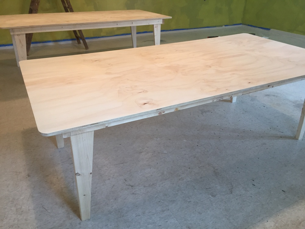 Tables made in house.