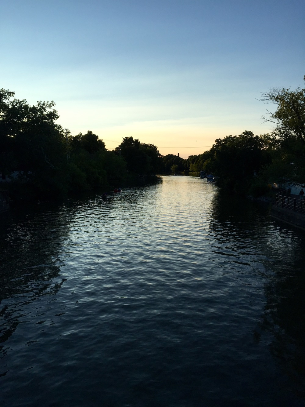 A beautiful summer night over the Erie Canal as you cross the bridge.