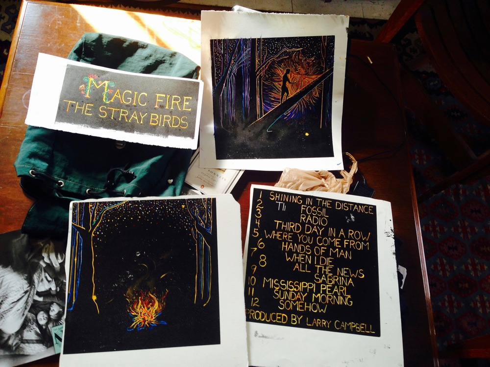 "Four separate oil and watercolor prints became the album art for ""Magic Fire"""