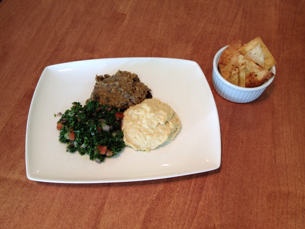 Mezze: babaganoosh, tabouli, hummous, pita chips. Not going anywhere for now.