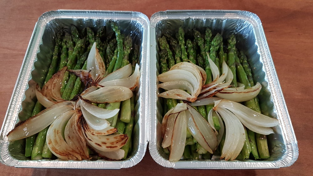 Roasted Barrie's asparagus and sweet onion side dish. $5.95.