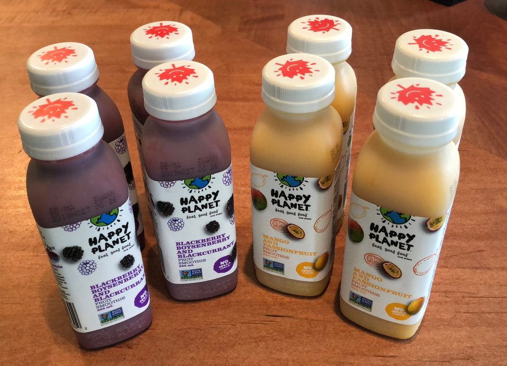 We also have a new addition to our local beverage lineup - Happy Planet Smoothies! They're delicious, natural and only $3.50! We have 2 favours - Blackberry/Blackcurrant, and Mango/Passionfruit.