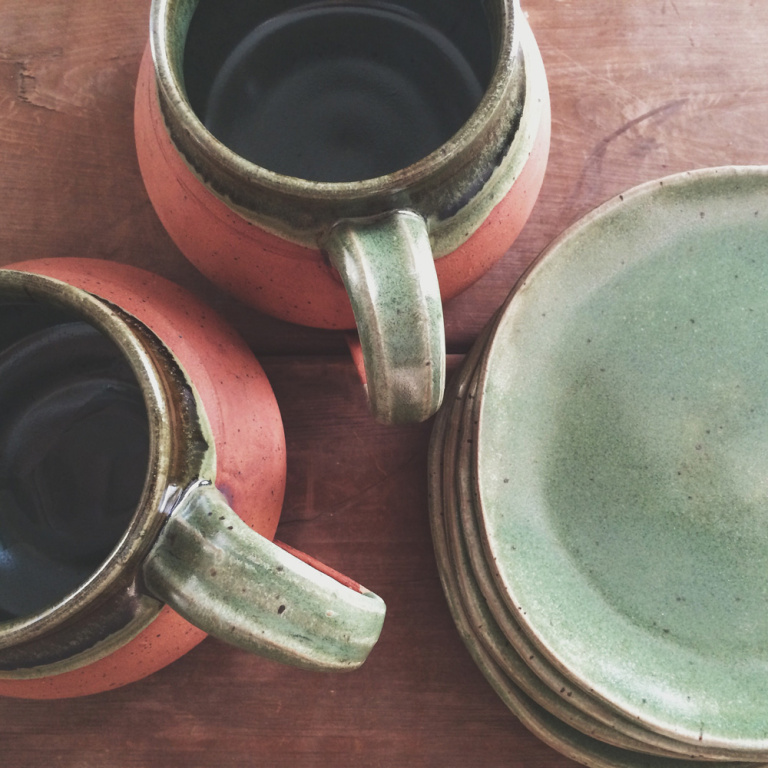 I love the earthy tones on these mugs and plates–characteristic colors used in Allison's work.