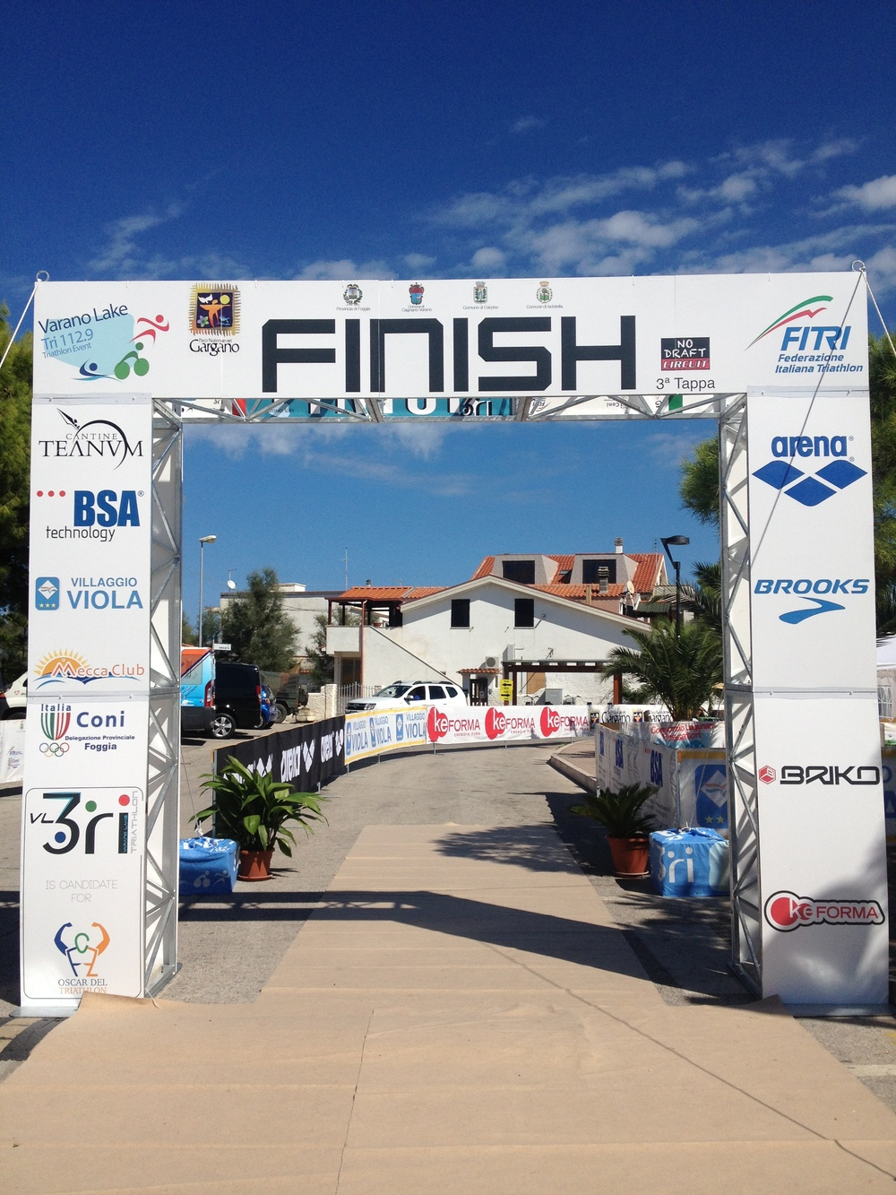 Finish line at Varano Lake Triathlon 70.3. Puglia, Italy