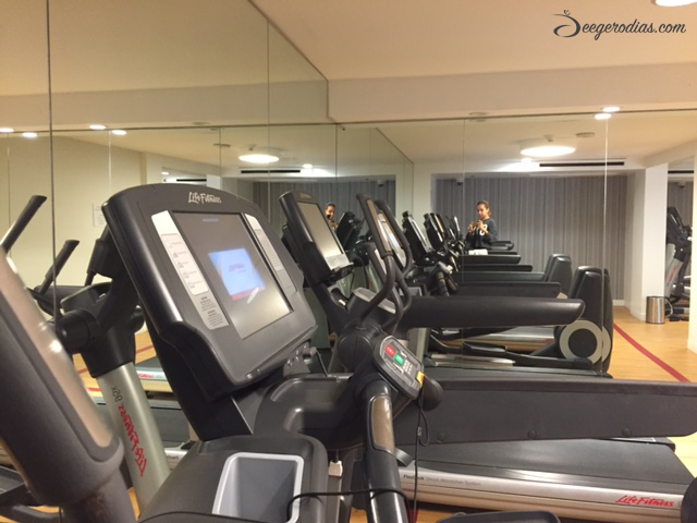 Utilizing our hotel's gym in Santa Monica.