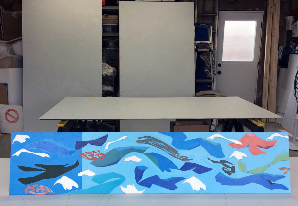 The finished mock-up for the corner mural (a few primed panels in the background)