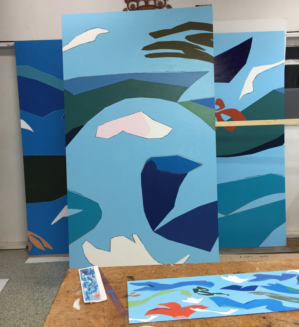 Before the panels leave the studio for varnishing