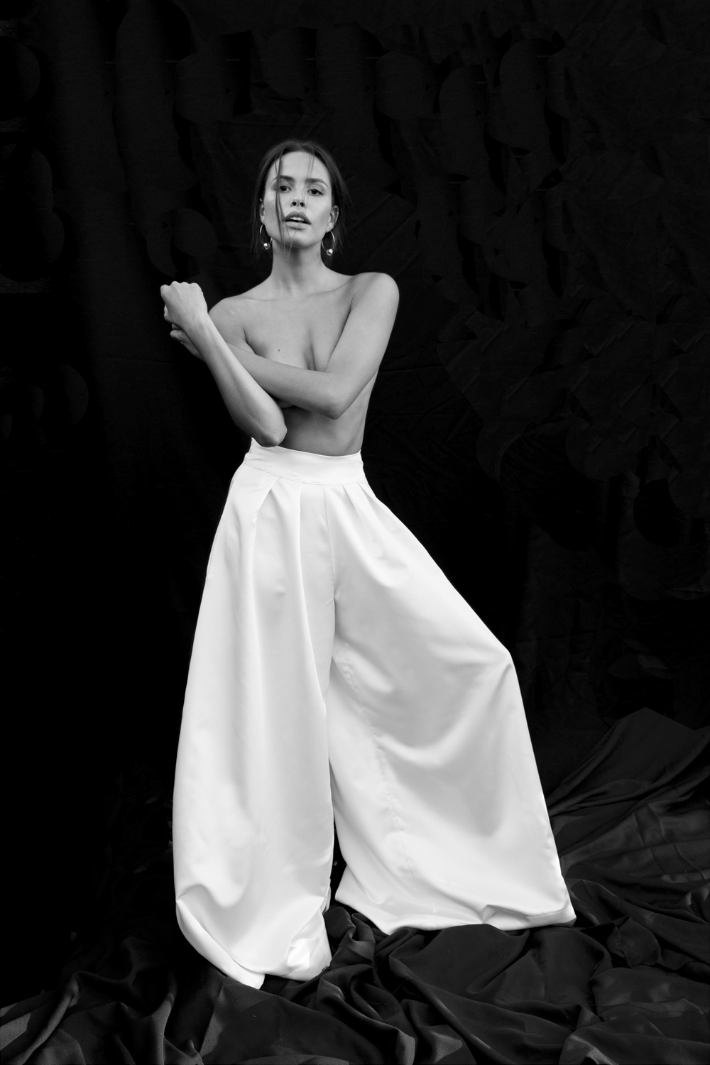 LUCIANA - High rise, ultra wide, super fun luxe satin bridal pant. A hit down the aisle or 'pon the dance floor.