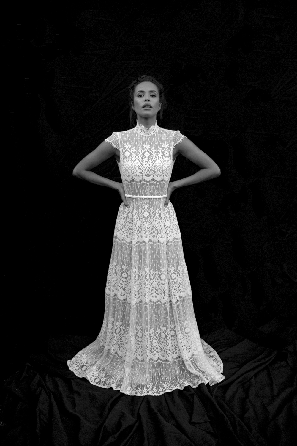 MAGDALENA - High neck, open back, lace gown. Regal influence with modern details. Because old traditions must be progressive.