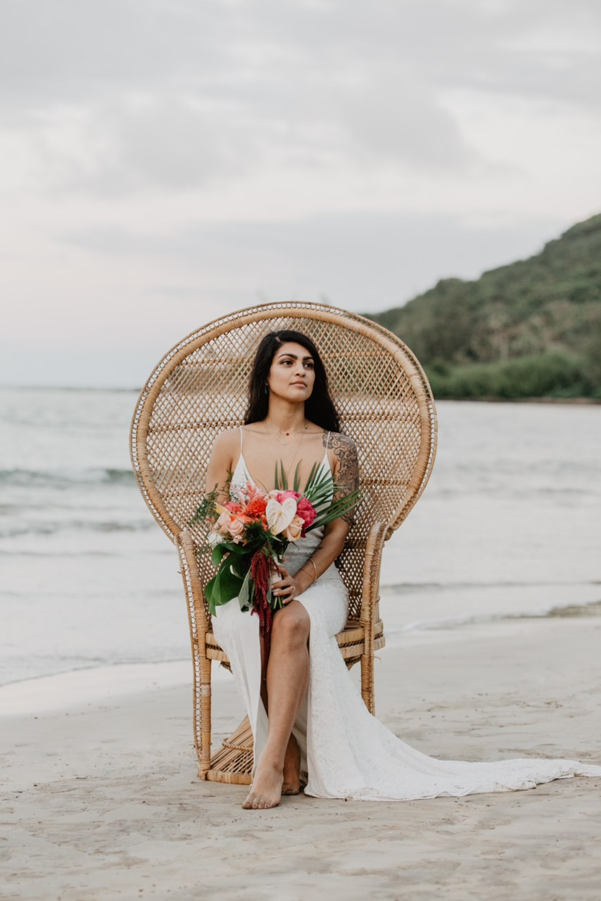 Kristine in the lace Maria Slip Gown at her Oahu wedding.