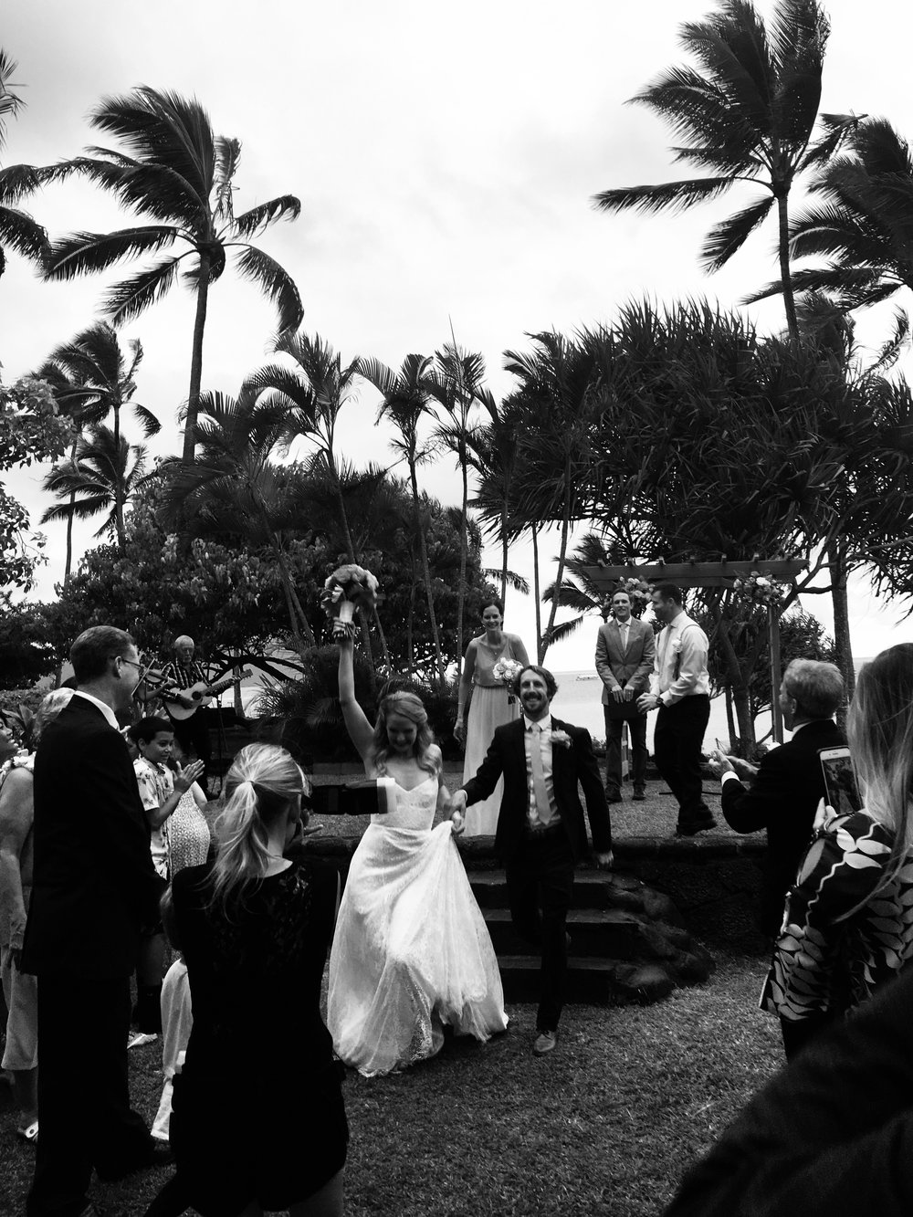 Katie in her custom lace gown at her Oahu, Hawaii wedding.