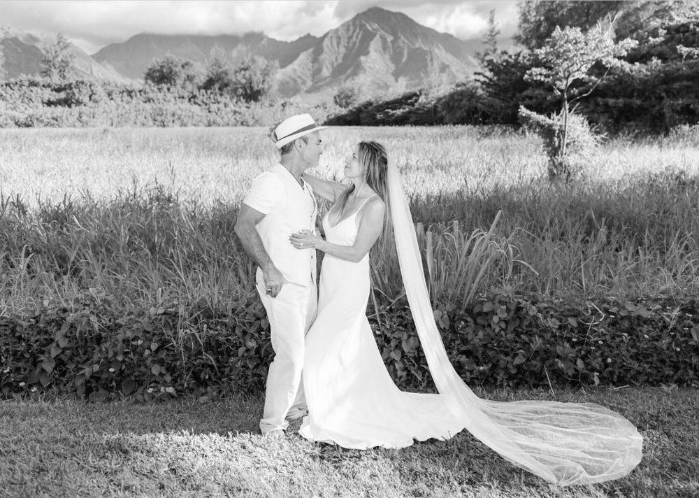 Rivers in the silk Penelope Gown at her Kauai wedding.