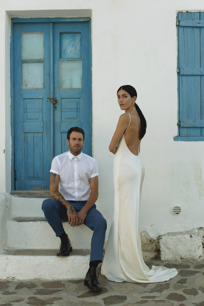 Katie in the Raquel Slip Gown at her wedding in Greece.