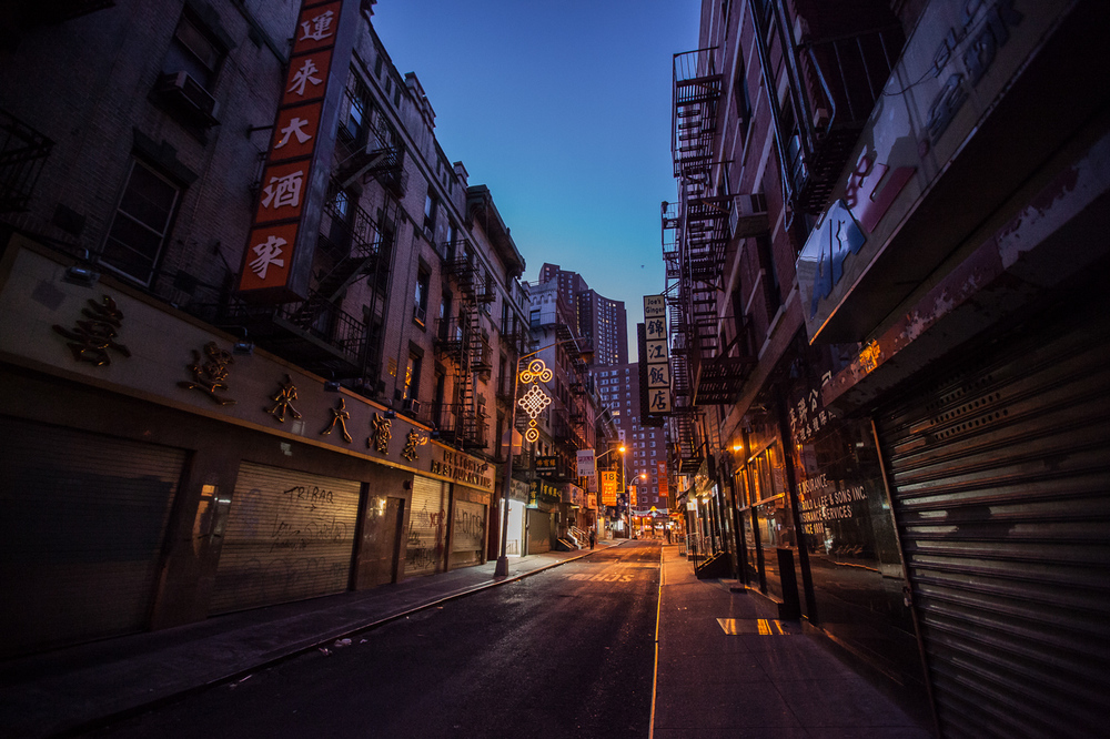 Empty street in Chinatown New York just before sunrise