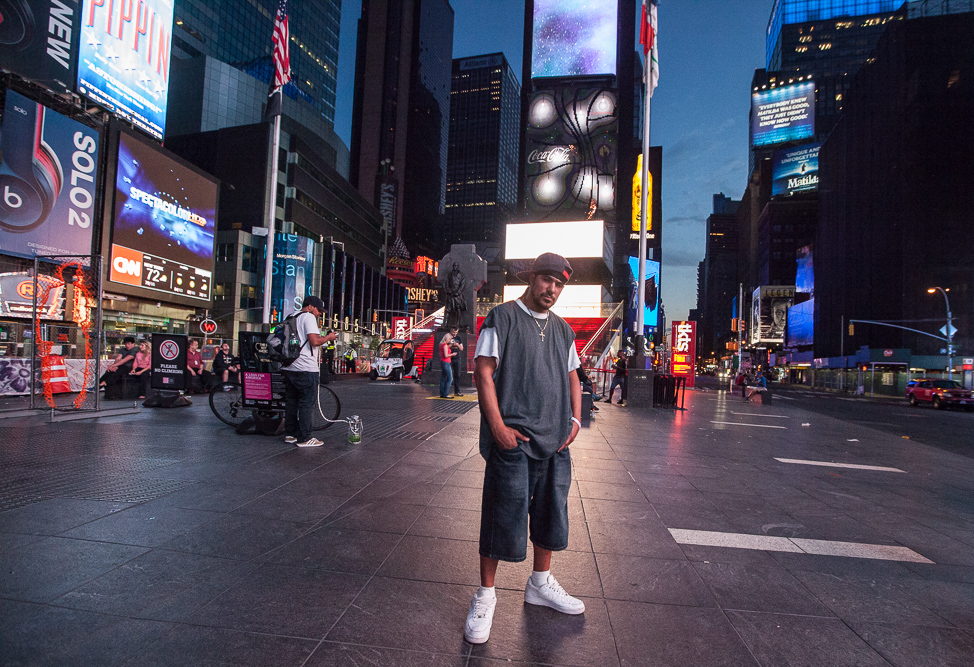 Carlos, a construction worker from New Jersey, hangs out in Time Square on his night off before heading back home, at 5:30am.