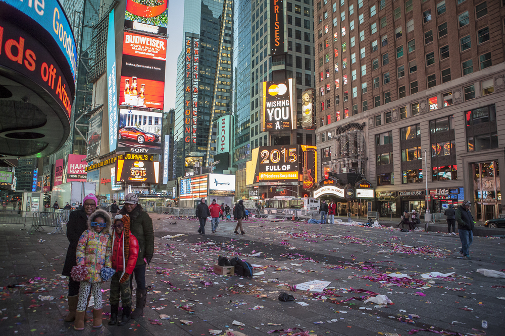 New Years Eve just before sunrise in Time Square