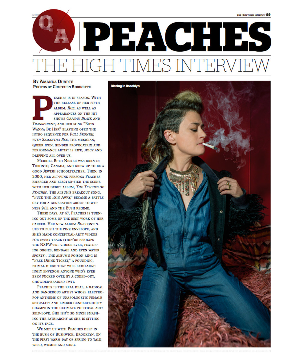 PEACHES Interview High Times Magazine Sept 2016