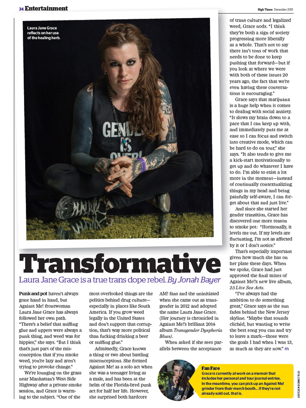 LAURA JANE GRACE High Times Magazine 2015