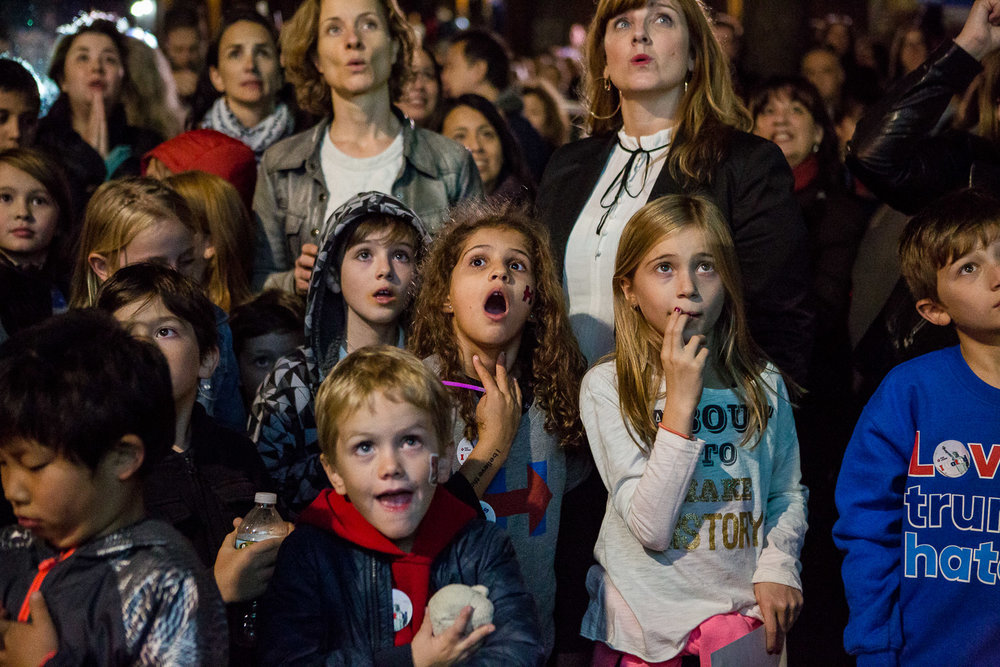 Hilary Clinton supporters in Brooklyn, New York react to a live screening of the presidential polls on election night for the 45th president of the United States on November 8, 2016.