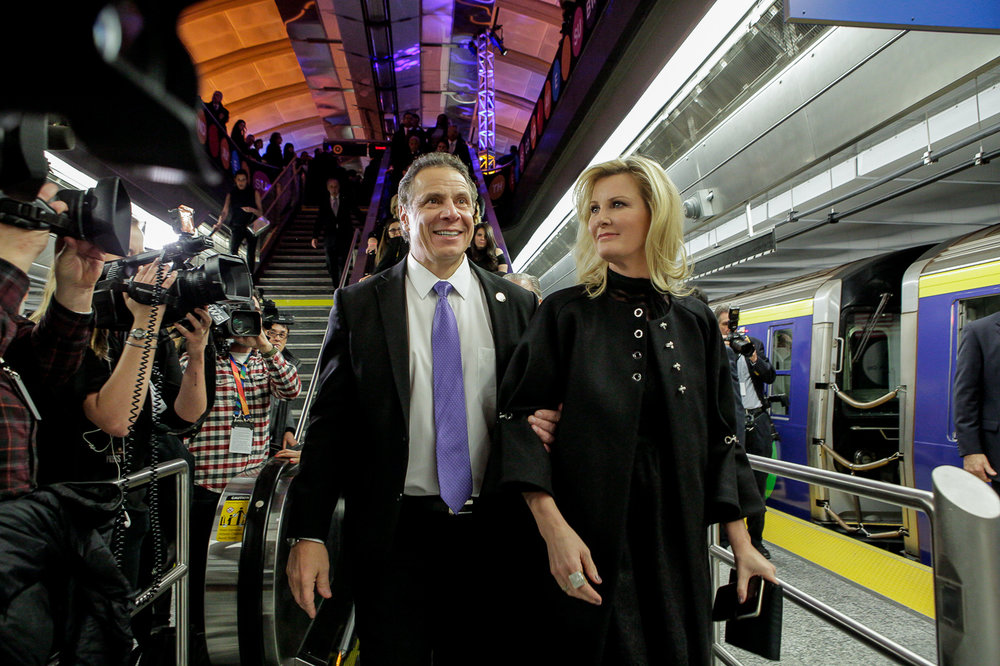 New York City mayor Andrew Cuomo during the grand opening of the New York City F line subway train expansion on New Year's Eve 2017.