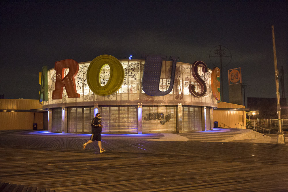 Coney Island Boardwalk, Brooklyn at 5:30 am.
