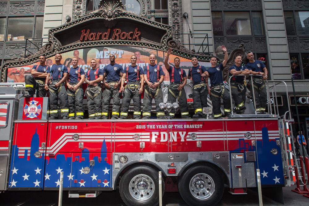 New York City Fire Fighters pose for a photo for the 2016 FDNY Calendar Release at Hard Rock Care, New York City