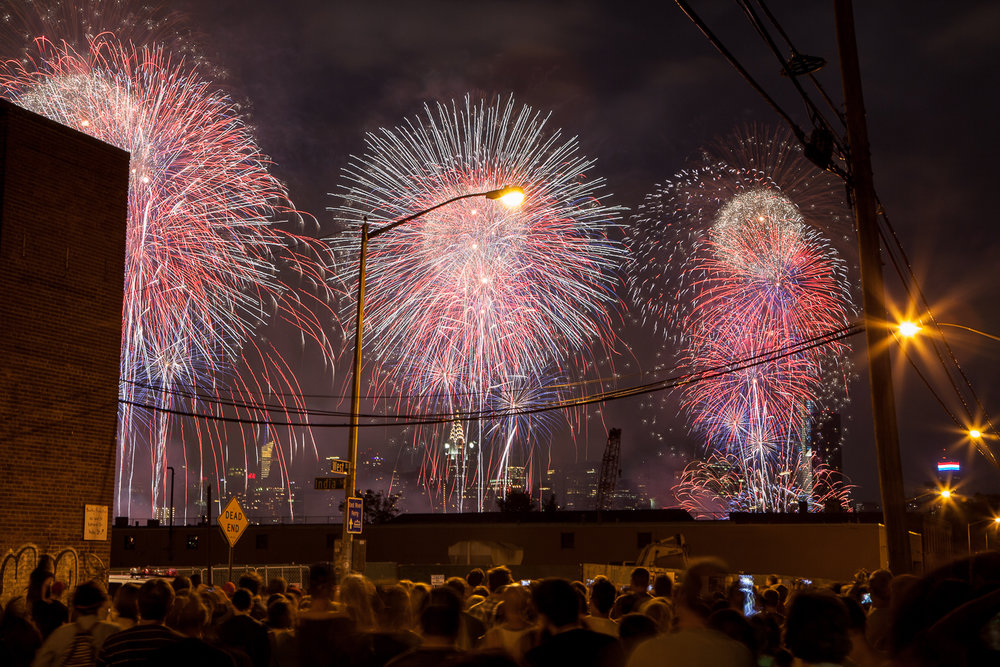4th of July fireworks display over the East River from Brooklyn, New York