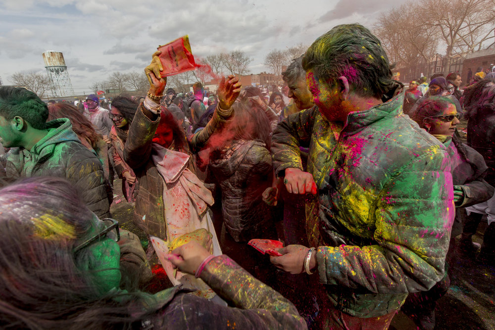 The 29th annual Phagwah Parade and Holi Celebration held in Richmond Hills Smokey Oval Park in Queens, New York on March 12, 2017. Hold or 'Phagwah' throughout the Caribbean, is an ancient Hindu spring festival to celebrate renewal and the coming of spring and joy, where participants throw colored powder, or Gulal on each other in celebration of friendship, love and unity.