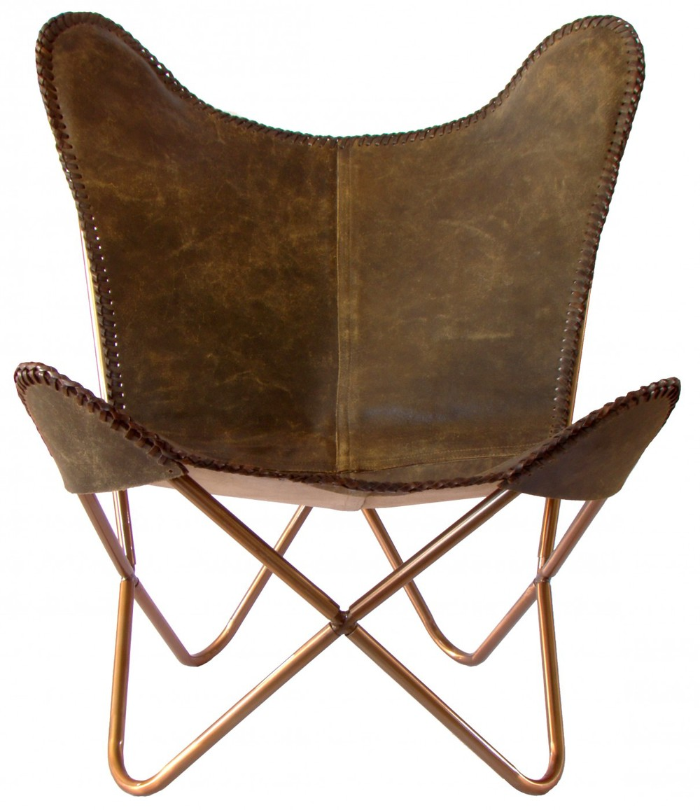 Interiors online butterfly chair Dark brown crackle leather